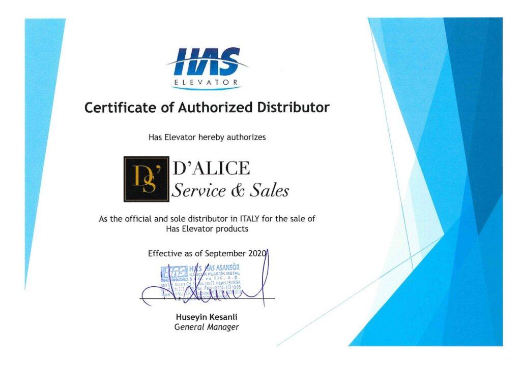 D'Alice Service & Sales HAS Official partner